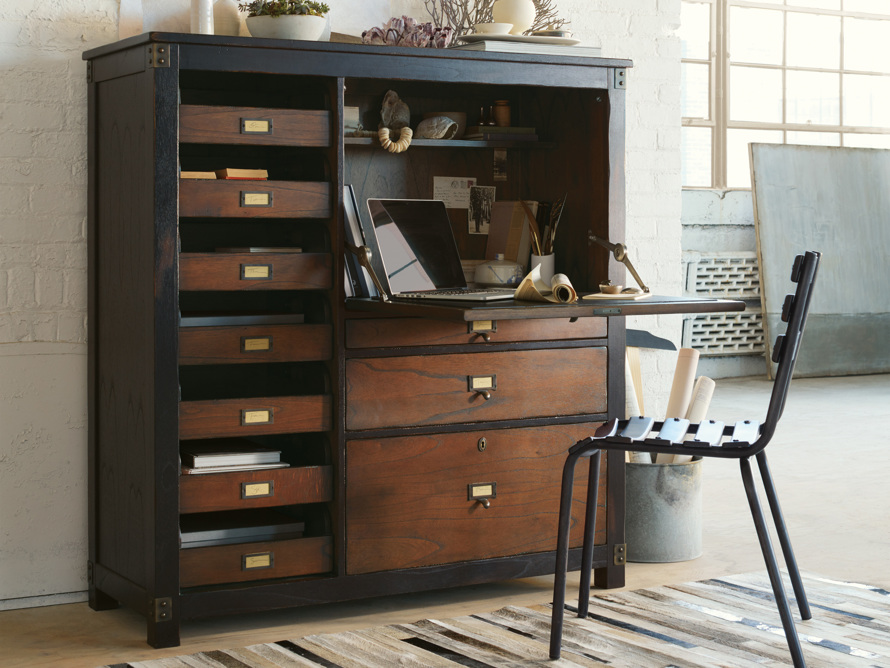 Telegraph Hideaway Desk in Spencer Brown, slide 1 of 7