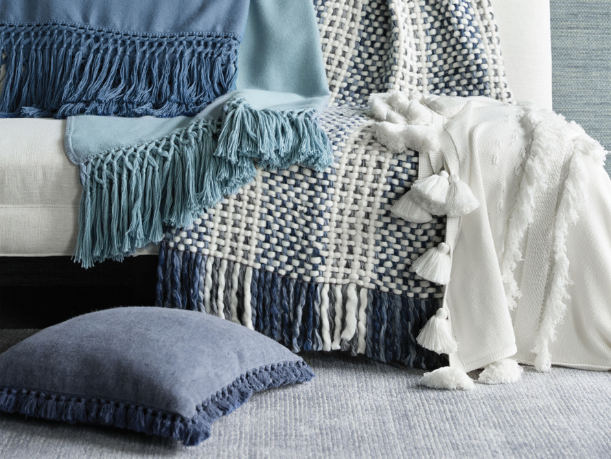 Chunky Knit Blue and White Throw, slide 6 of 7