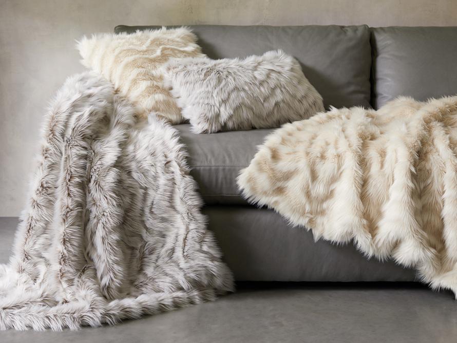 "Faux Fur Chevron 24"" Lumbar Pillow in Ivory"