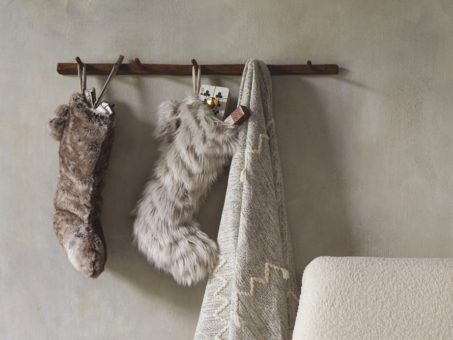 Faux Fur Pom Pom Stocking in Grey Wolf, slide 4 of 5