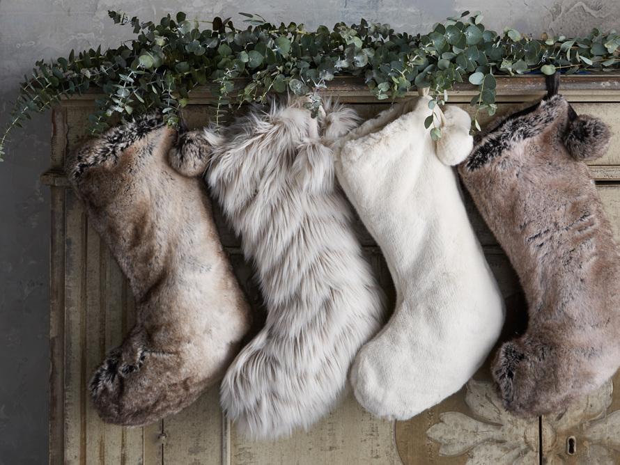 Faux Fur Pom Pom Stocking in Grey Wolf, slide 5 of 5