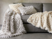 Faux Fur Chevron Pillow in Ivory