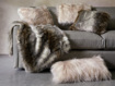 "Faux Fur Feather 19"" Pillow in Ivory"