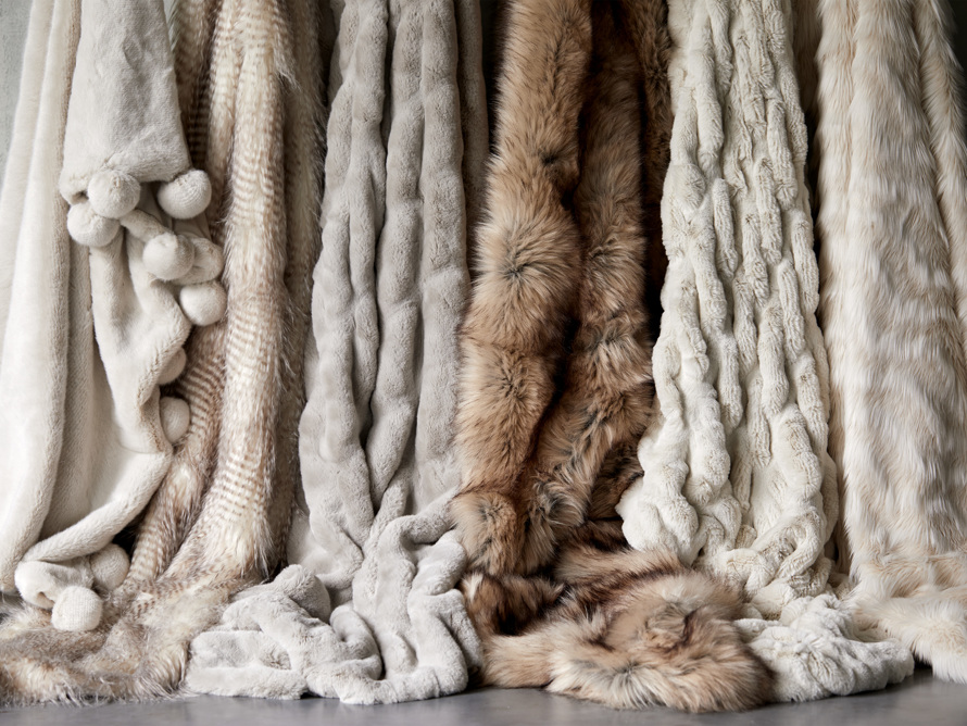 Faux Fur Pom Throw in Ivory, slide 5 of 7