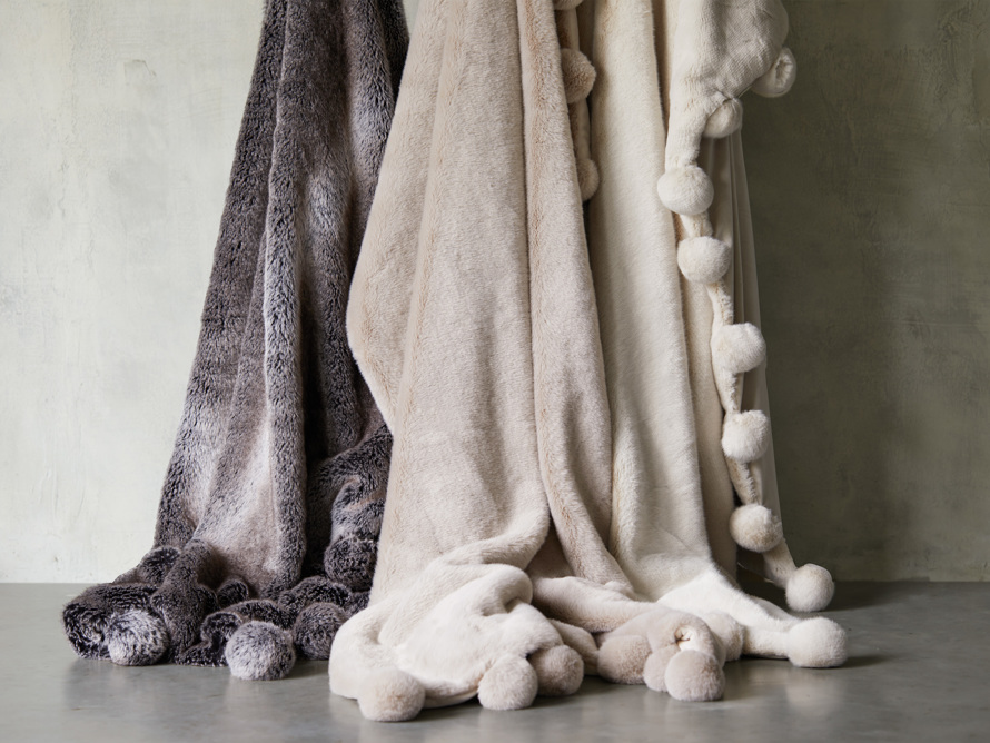 Faux Fur Pom Throw in Ivory, slide 6 of 7