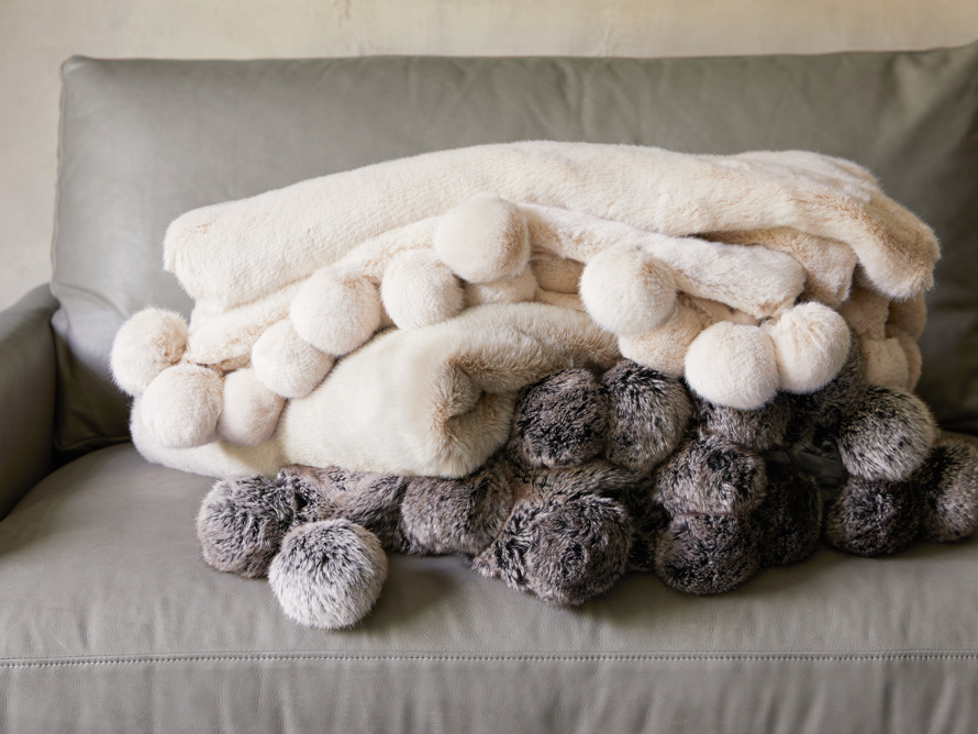 Faux Fur Pom Throw in Ivory, slide 7 of 7