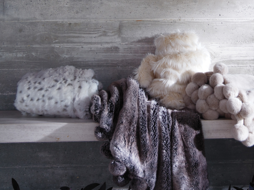 Faux Fur Snow Leopard Throw
