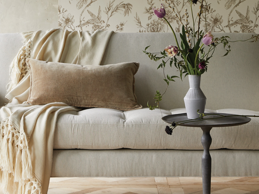 Stone Washed Velvet Lumbar Pillow in Taupe