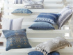 French Striped Pillow in White and Navy