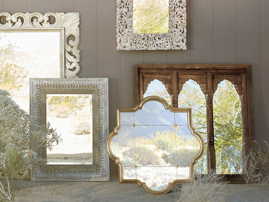 "AISLING 55"" X 55"" QUATREFOIL MIRROR IN ANTIQUE GOLD"