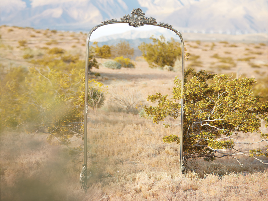 """Amelie 41"""" Wooden Arched Floor Mirror in Silver, slide 7 of 7"""