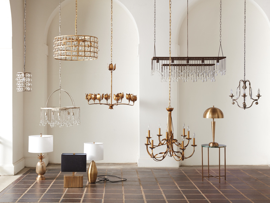 La Cage 6 light Chandelier in Gold Clay