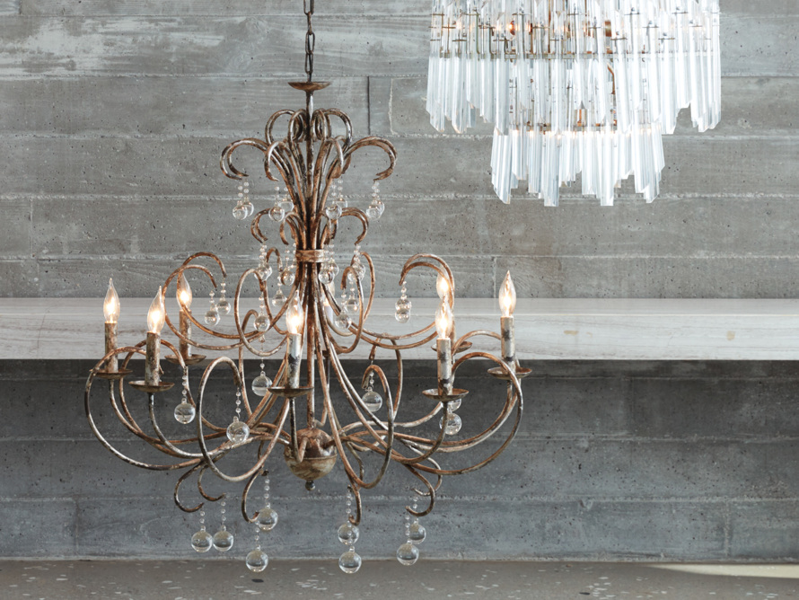 Large Scroll Ball Chandelier in Silver, slide 6 of 6