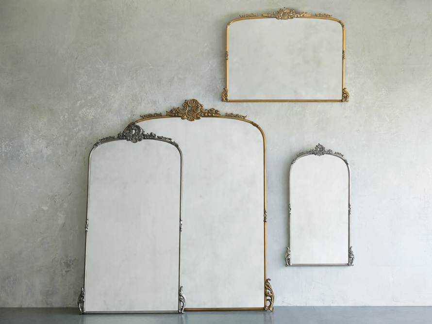 "Amelie 64"" Wooden Arched Grand Floor Mirror in Gold, slide 3 of 7"
