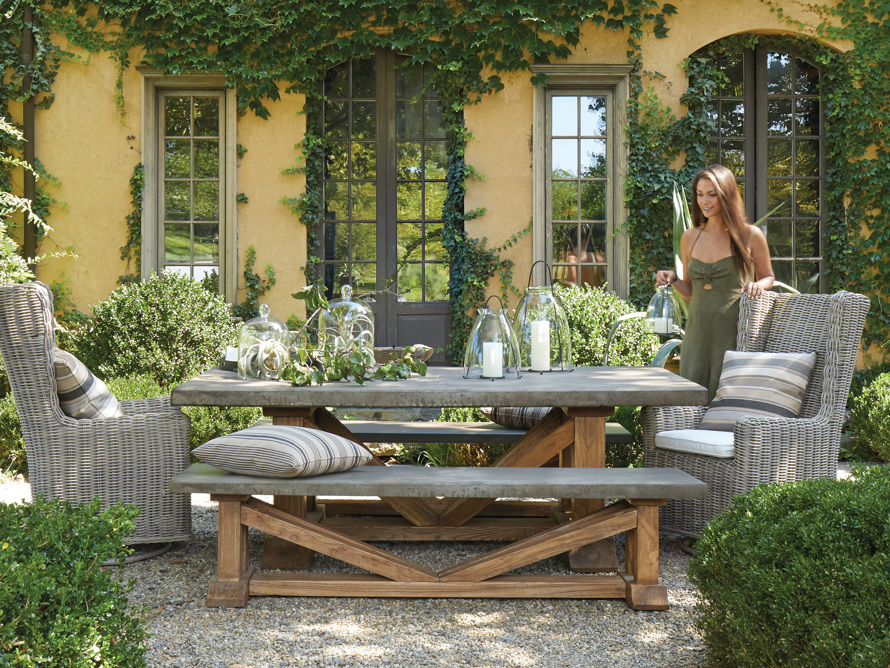 "Bourdeaux Outdoor 84"" Reconstructed Stone Dining Table, slide 7 of 8"