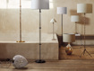 Andromeda Large Glass Table Lamp with Natural Shade