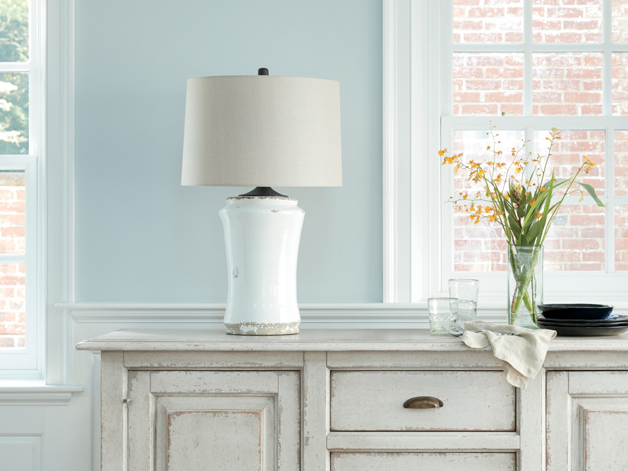 Ghent Terracotta Table Lamp in White, slide 5 of 6