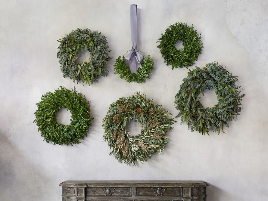 Fresh Boxwood and Myrtle Half Wreath, slide 3 of 3