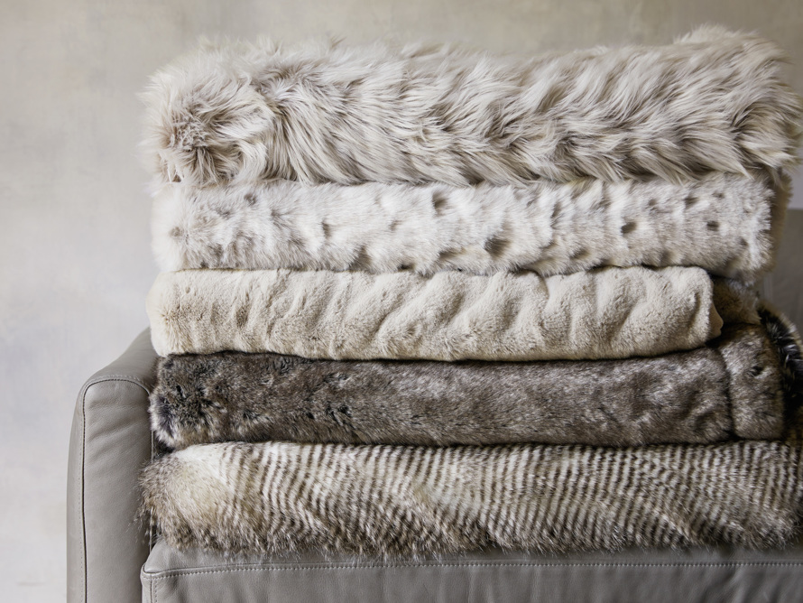 Faux Fur Luxe Grey Pleated Throw, slide 7 of 7