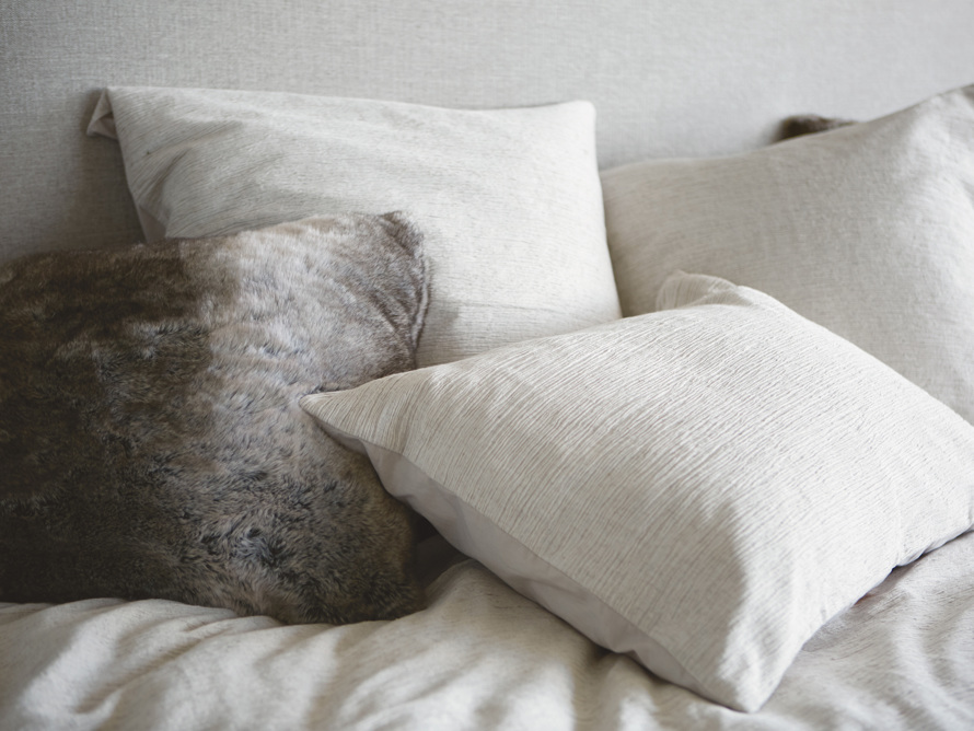 Grey Wolf Faux Fur Euro Pillow, slide 1 of 5