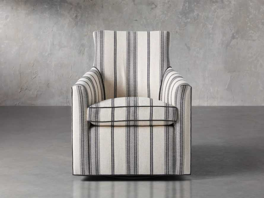 "Juniper Upholstered 29"" Swivel Chair in Sofie Chia with Cory Onyx Welt, slide 1 of 4"