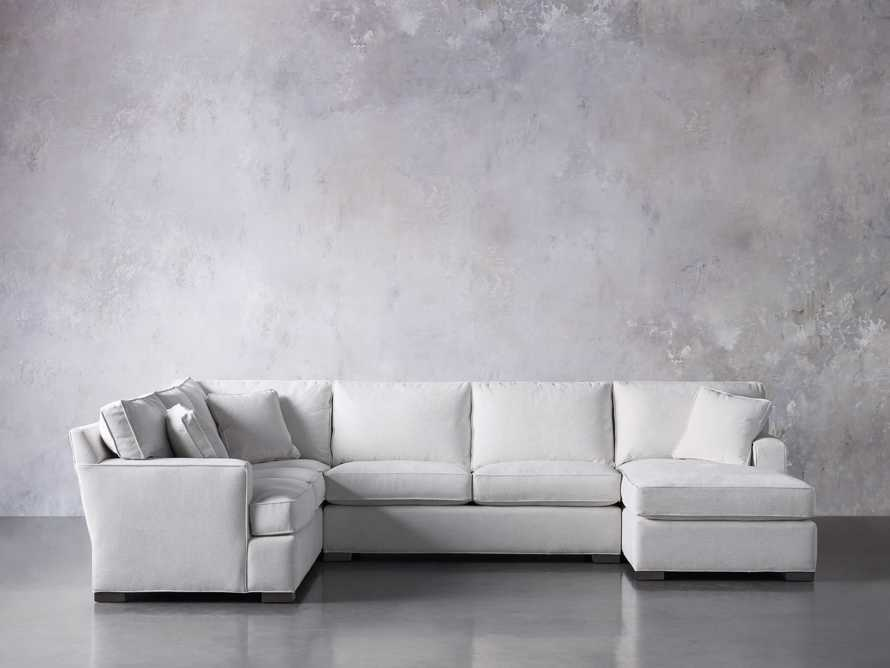 "Dune Upholstered 139"" Three Piece Sectional in Vertual Snow, slide 2 of 7"