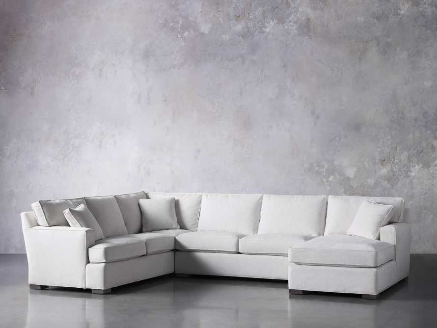"Dune Upholstered 139"" Three Piece Sectional in Vertual Snow, slide 3 of 7"