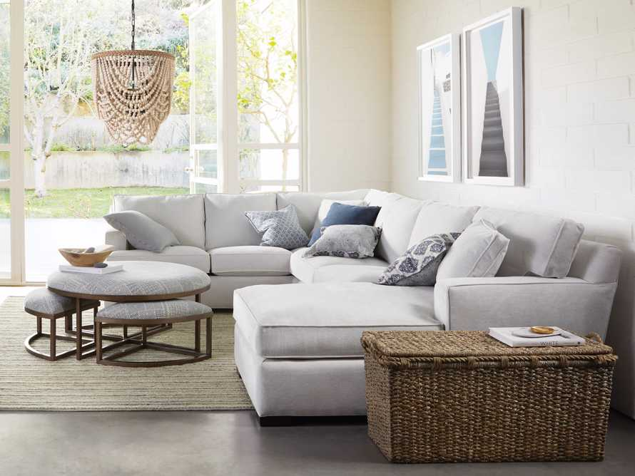"""Dune Upholstered 139"""" Three Piece Sectional in Vertual Snow, slide 1 of 9"""