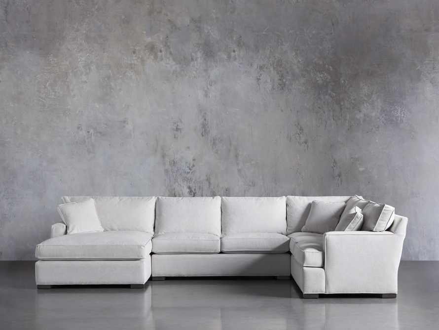 "Dune Upholstered 150"" Three Piece Right Arm Large Chaise Sectional in Vertual Snow, slide 1 of 6"