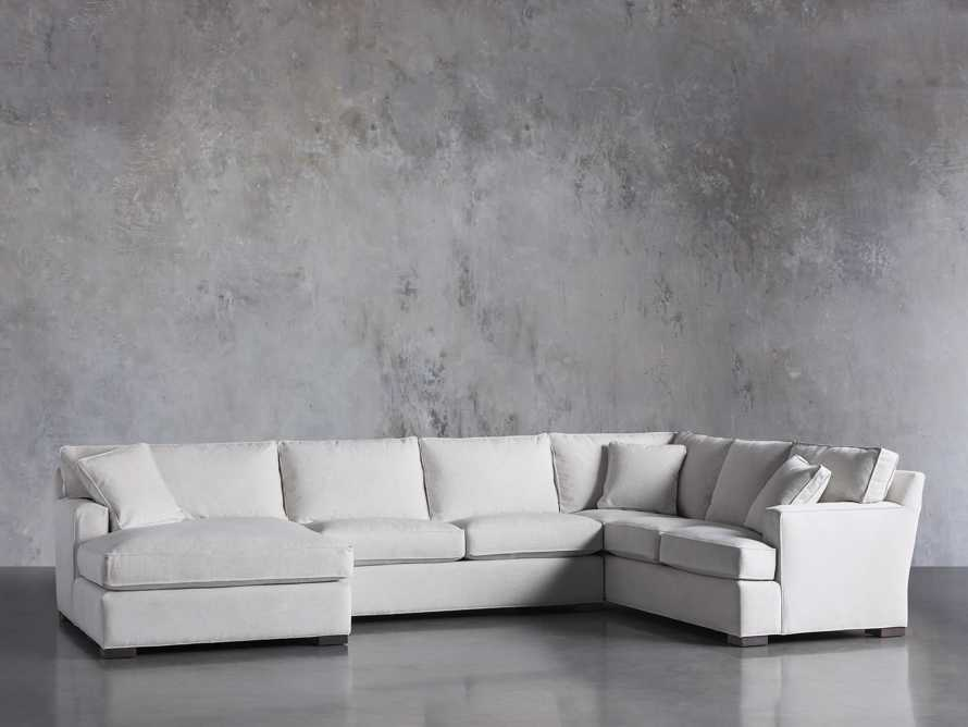 "Dune Upholstered 150"" Three Piece Right Arm Large Chaise Sectional in Vertual Snow, slide 2 of 6"
