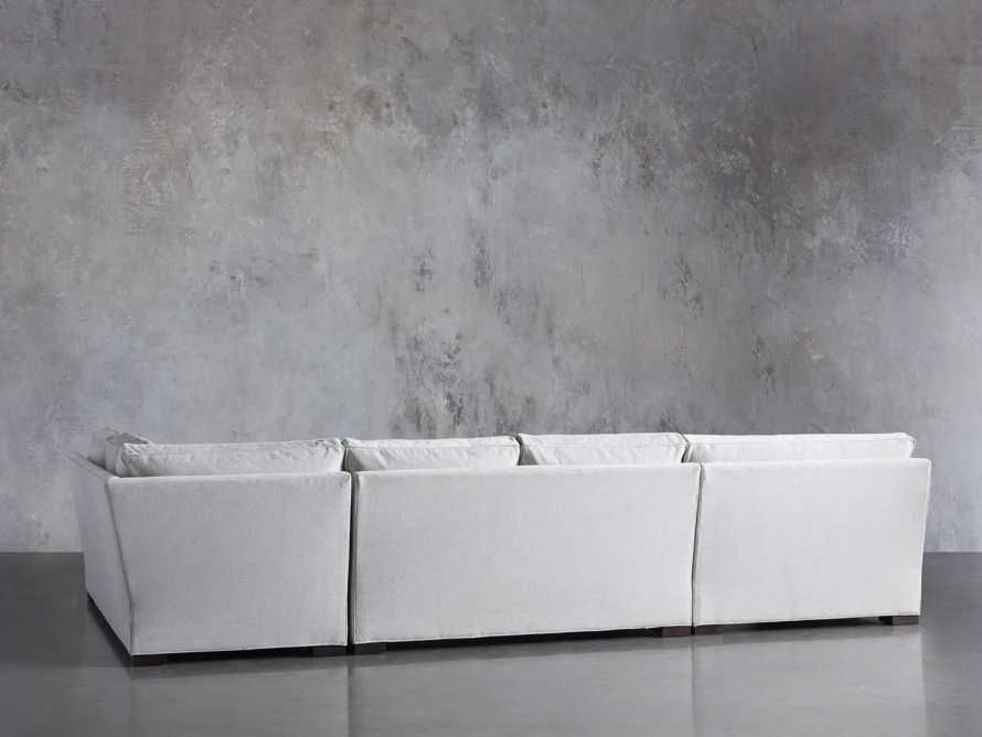"Dune Upholstered 150"" Three Piece Right Arm Large Chaise Sectional in Vertual Snow, slide 3 of 6"