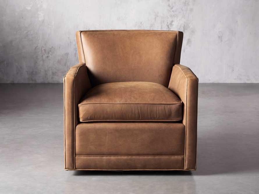 """Rudy Leather 31"""" Swivel Chair in Lukas Pecan, slide 2 of 9"""