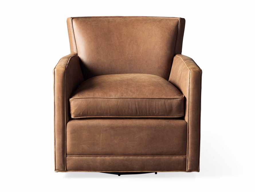 """Rudy Leather 31"""" Swivel Chair in Lukas Pecan, slide 8 of 9"""