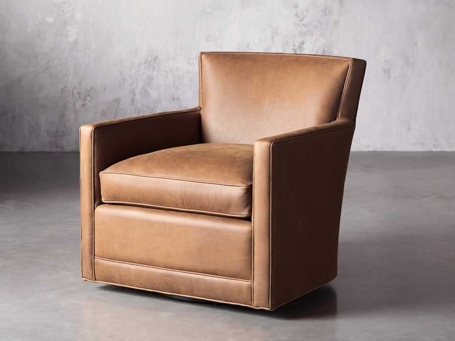 """Rudy Leather 31"""" Swivel Chair in Lukas Pecan, slide 3 of 9"""