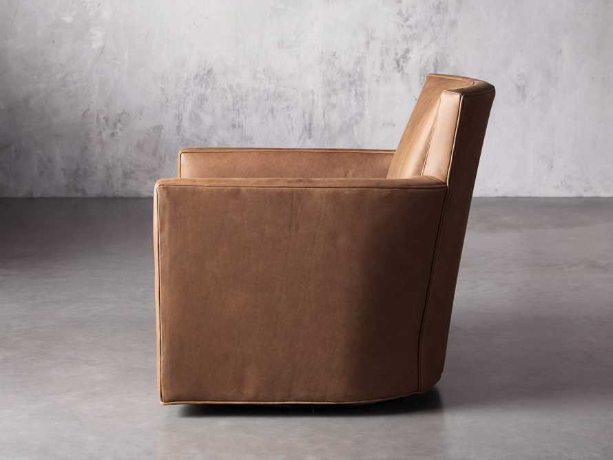 """Rudy Leather 31"""" Swivel Chair in Lukas Pecan, slide 4 of 9"""