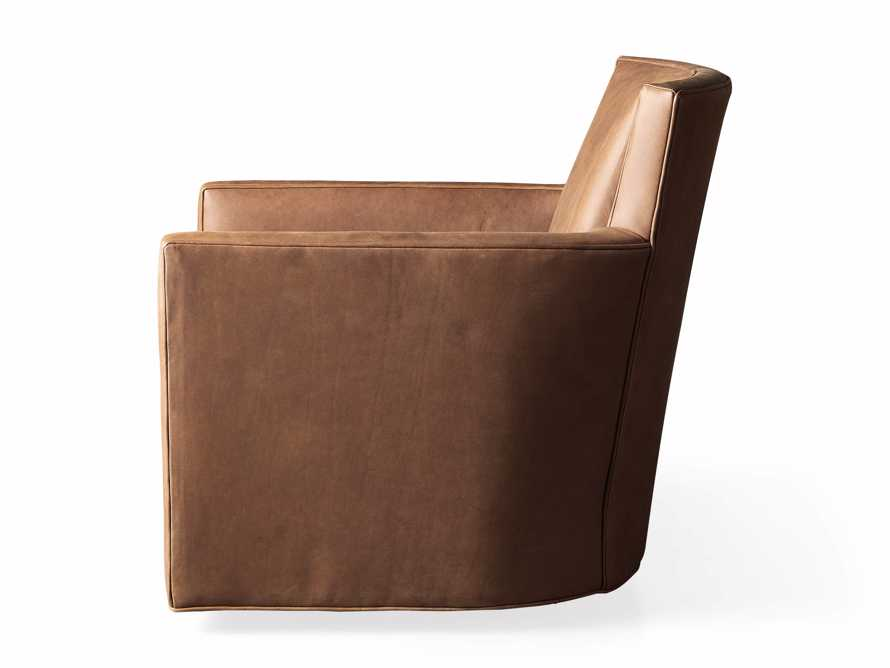 """Rudy Leather 31"""" Swivel Chair in Lukas Pecan, slide 9 of 9"""