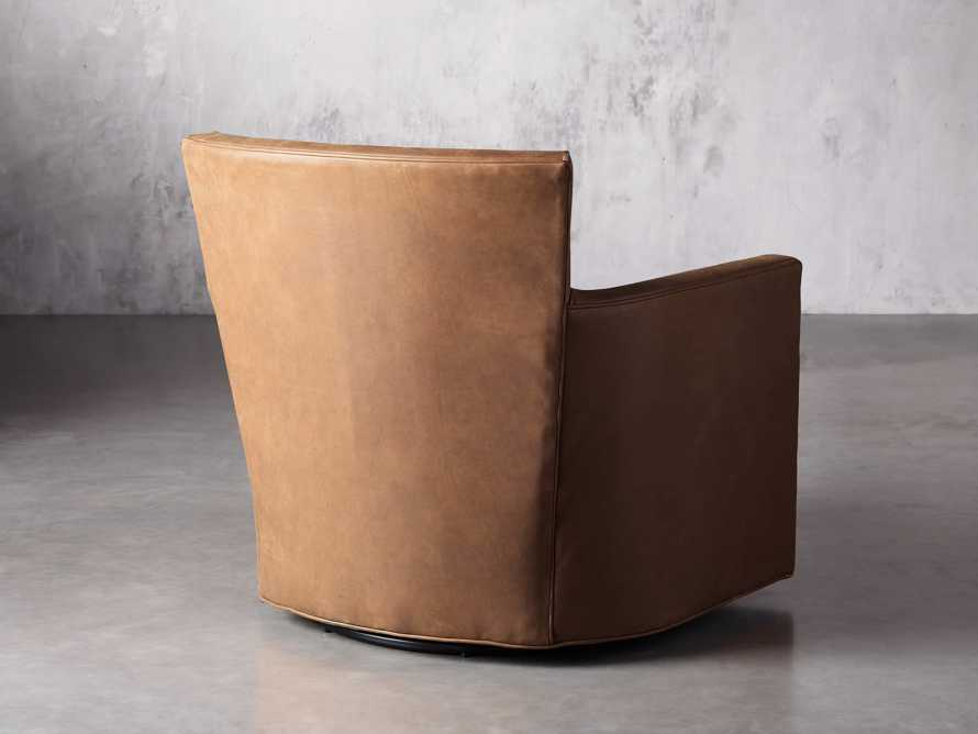 """Rudy Leather 31"""" Swivel Chair in Lukas Pecan, slide 5 of 9"""
