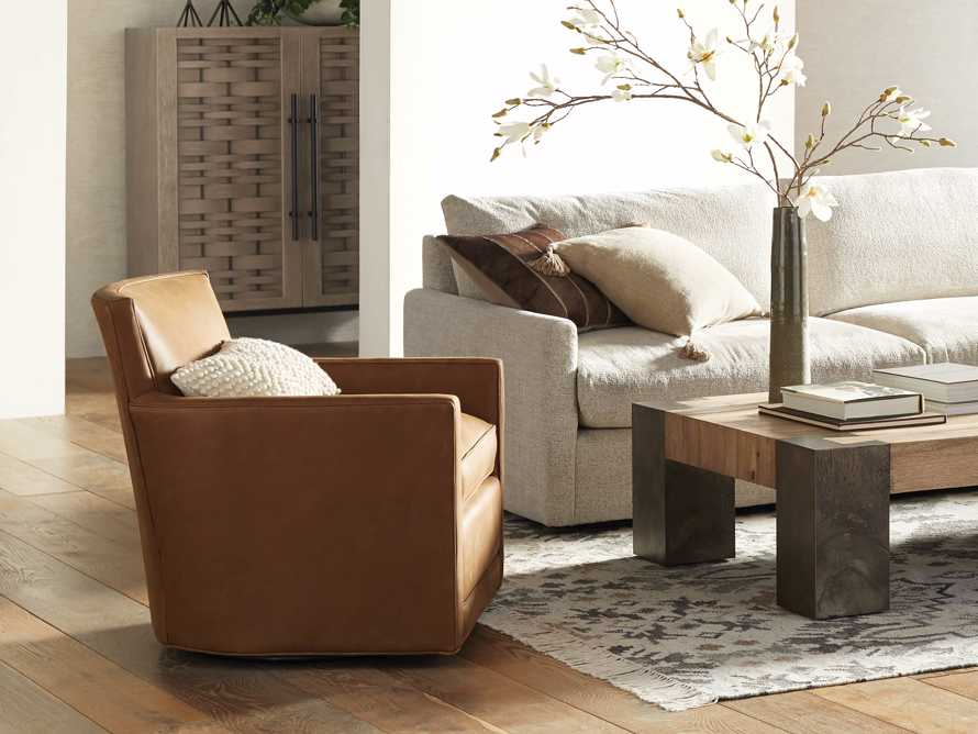 """Rudy Leather 31"""" Swivel Chair in Lukas Pecan, slide 1 of 9"""