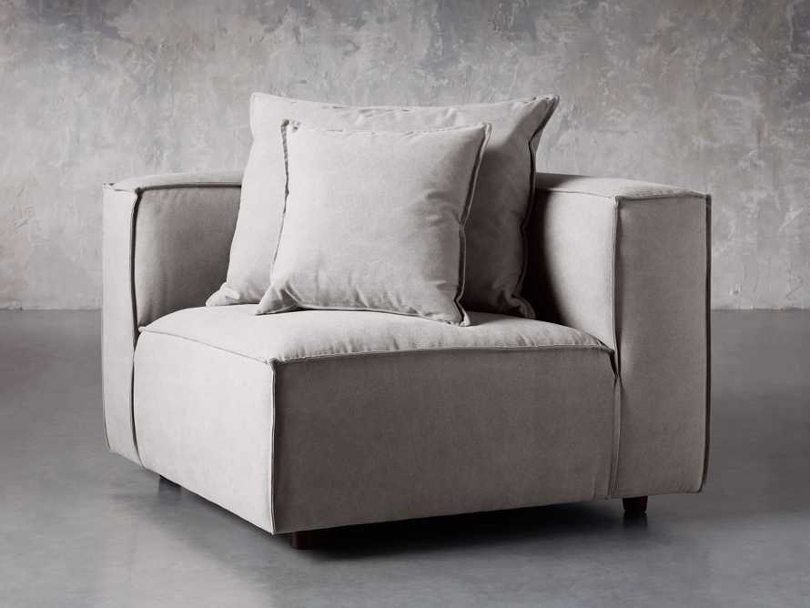 "Coburn Upholstered 43"" Corner Chair in Capricorn Grey, slide 1 of 6"