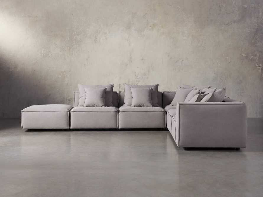 "Coburn Upholstered 124"" Six Piece Reverse Sectional in Capricorn Grey"