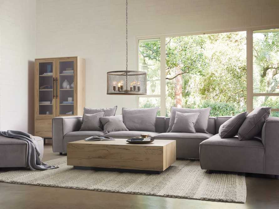 "Coburn Upholstered 124"" Six Piece Reverse Sectional in Capricorn Grey, slide 1 of 6"