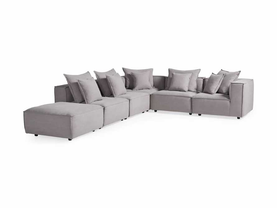 """Coburn Upholstered 124"""" Six Piece Reverse Sectional in Capricorn Grey, slide 7 of 8"""