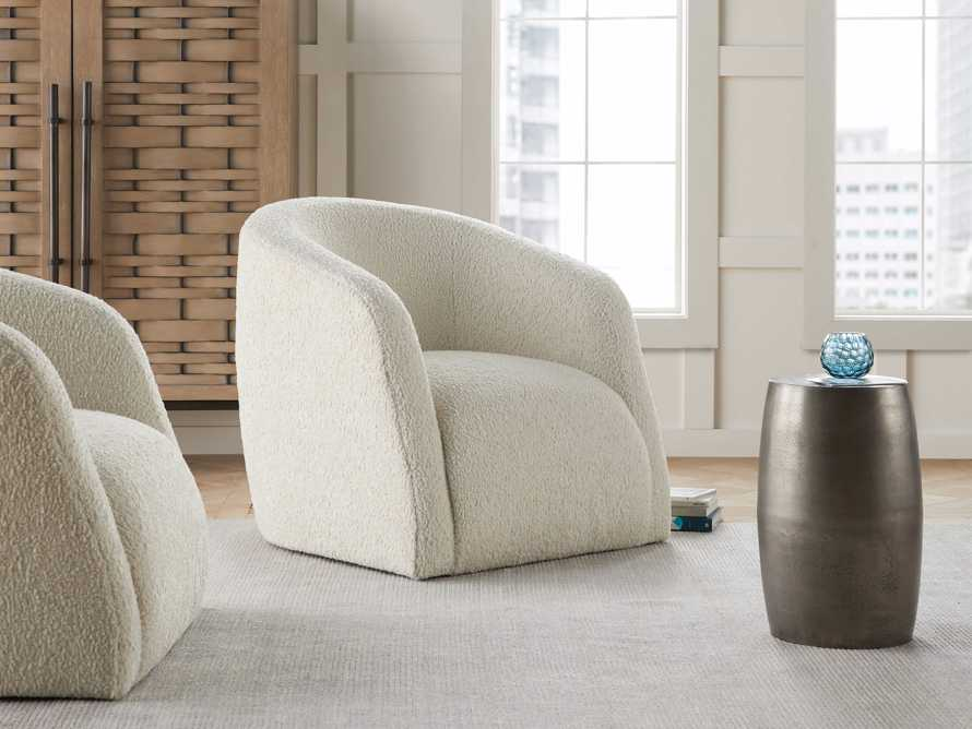 "Merrill Upholstered 31"" Swivel Chair in Cuddle Natural, slide 1 of 10"