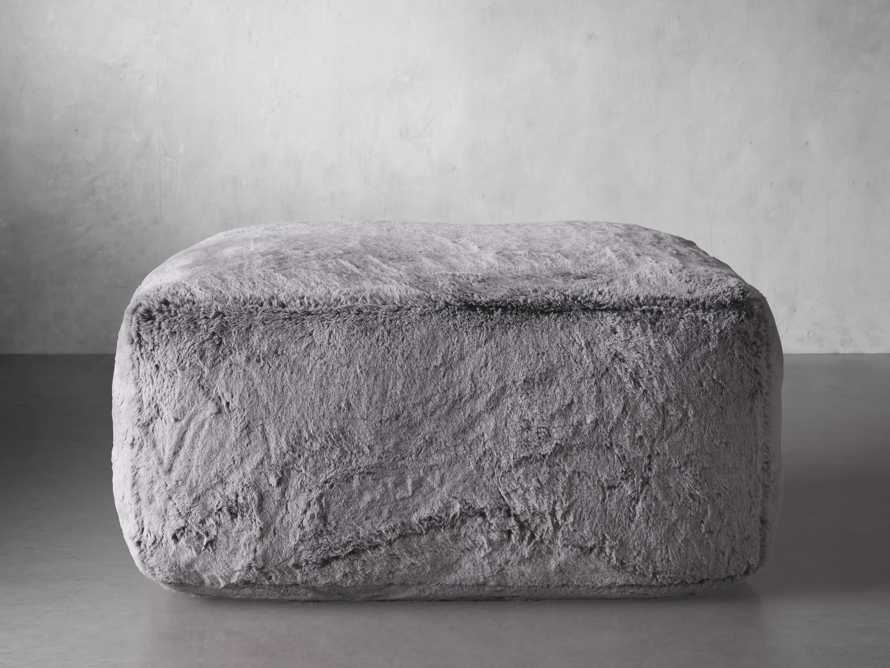 """Snugg Faux Fur 36"""" Ottoman in Grizzly Grey, slide 1 of 6"""