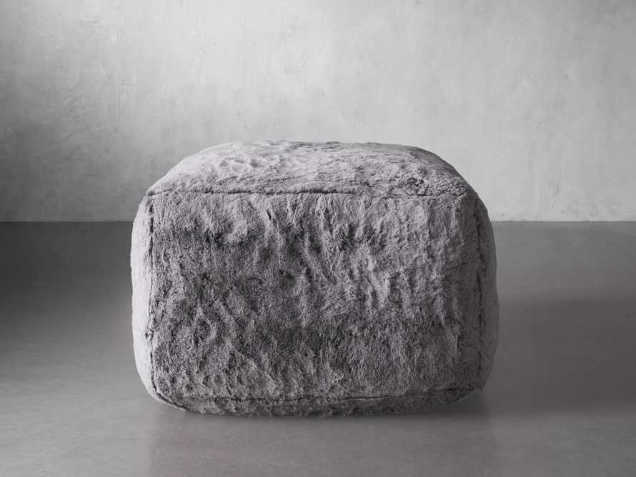 """Snugg Faux Fur 36"""" Ottoman in Grizzly Grey, slide 3 of 6"""