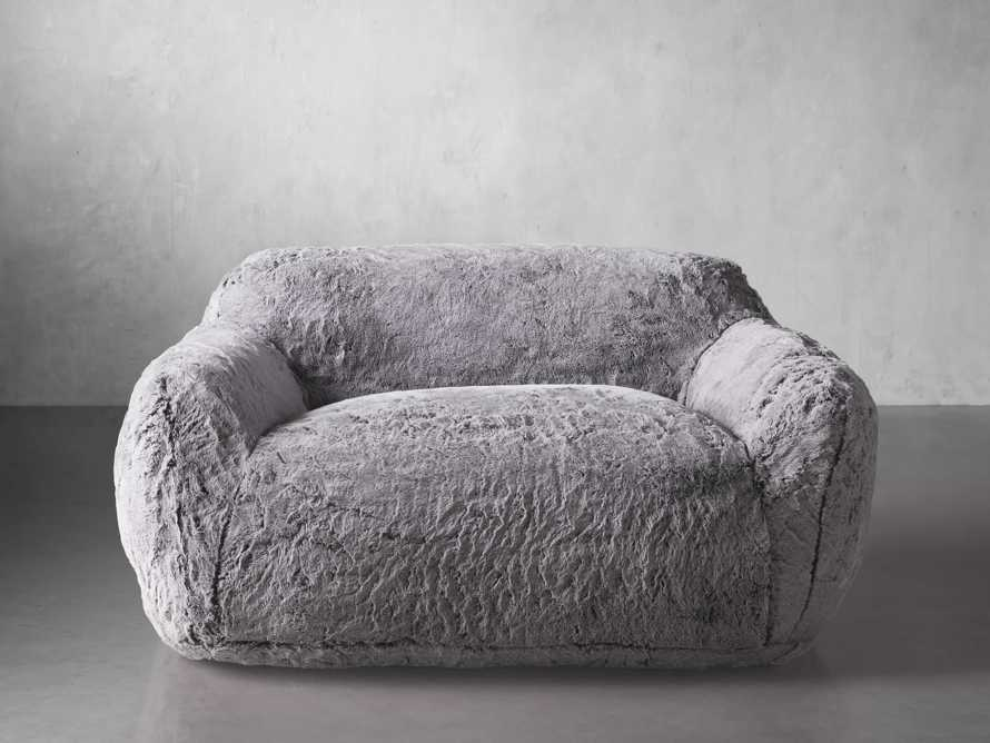 """Snugg Faux Fur 60"""" Loveseat in Grizzly Grey, slide 1 of 7"""