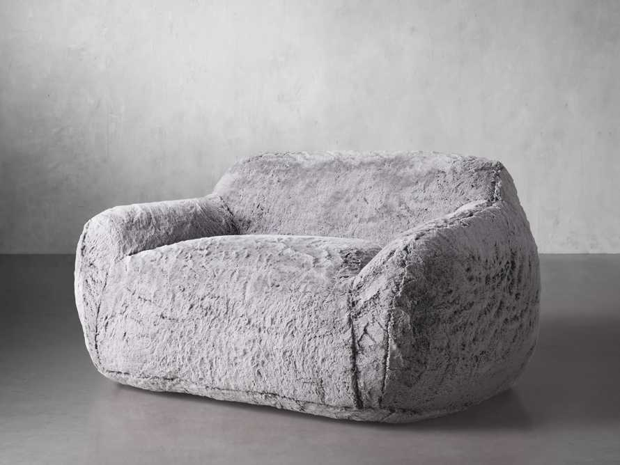 """Snugg Faux Fur 60"""" Loveseat in Grizzly Grey, slide 2 of 7"""