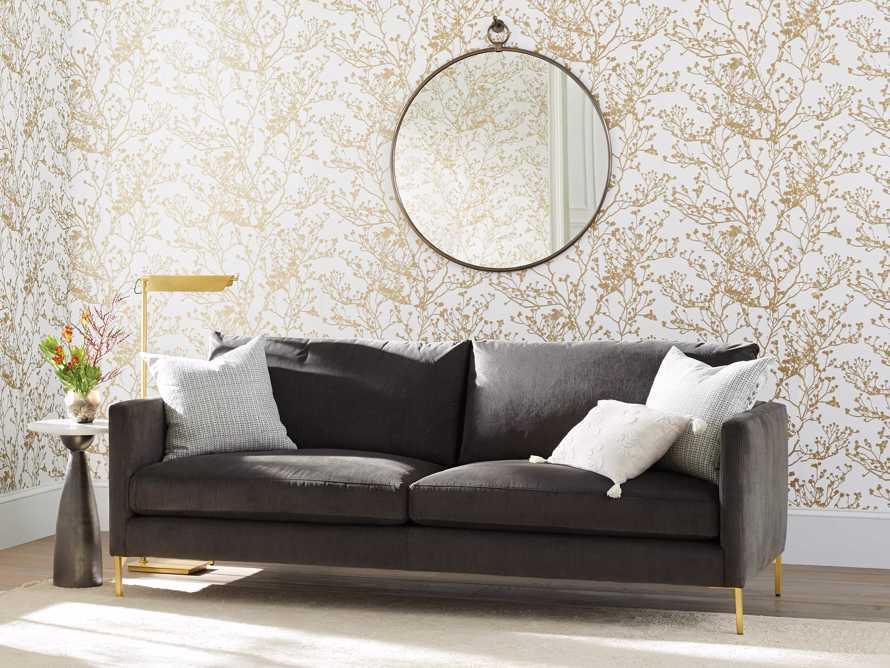 """Clarkson Brass Upholstered 86"""" Sofa, slide 1 of 10"""
