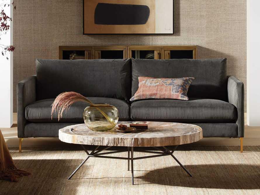 """Clarkson Brass Upholstered 86"""" Sofa, slide 1 of 11"""