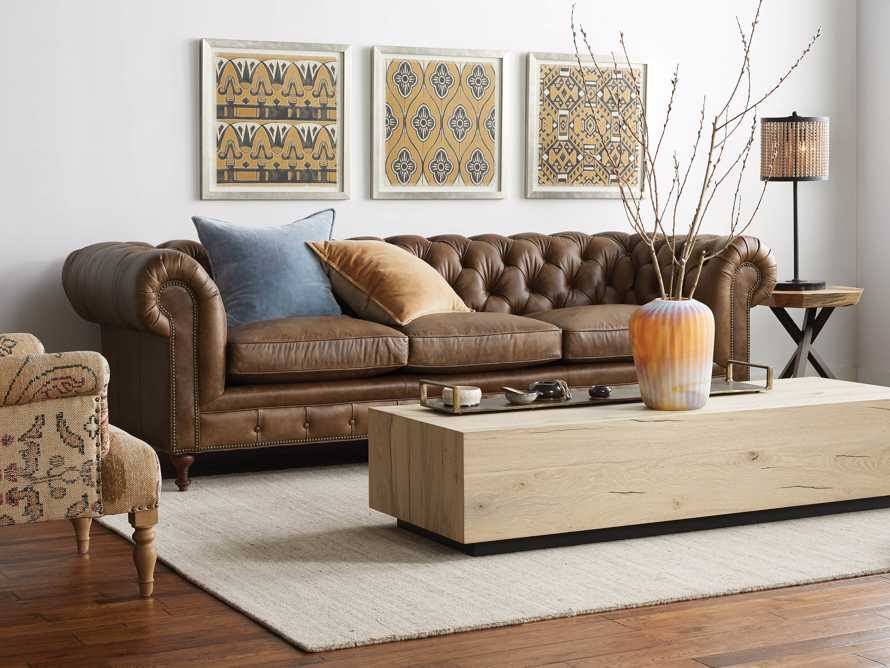 "Wessex 109"" Leather Tufted Sofa, slide 1 of 10"